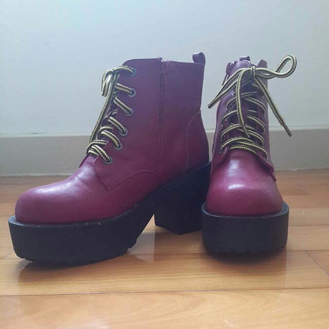 (全新)酒紅色厚底側拉鍊高筒靴