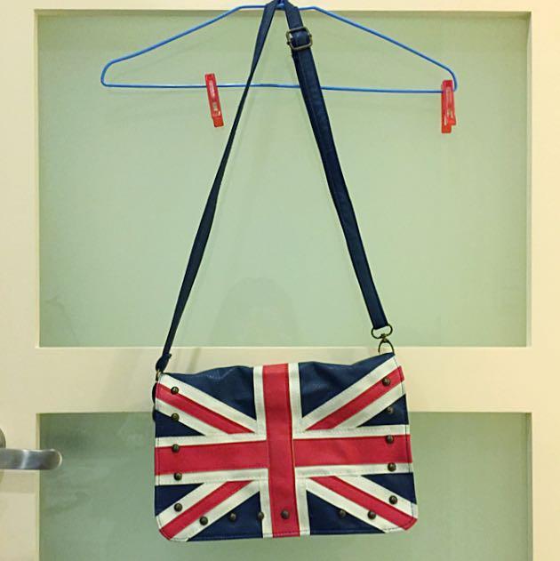 👝復古英國國旗卯釘肩背/斜背包