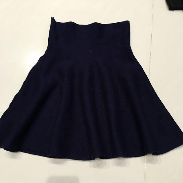 高腰針織短裙(藍)