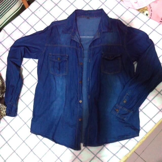 牛仔襯衫 薄襯衫 深藍色