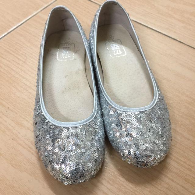 銀色 亮片 平底鞋 36號 23號
