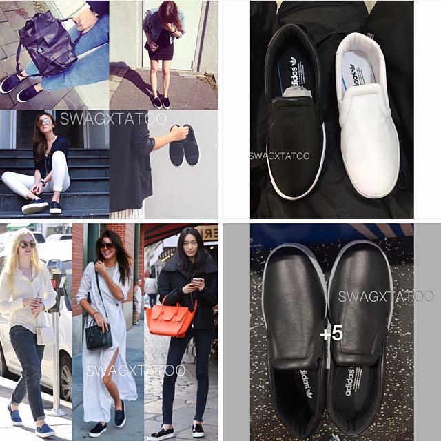#現貨供應中 Adidas Court Vantage Slip On  黑/白 真皮 懶人鞋 似Celine Skate