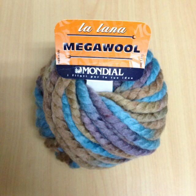 毛線 義大利Mondial 100%羊毛粗線-藍綠色段染