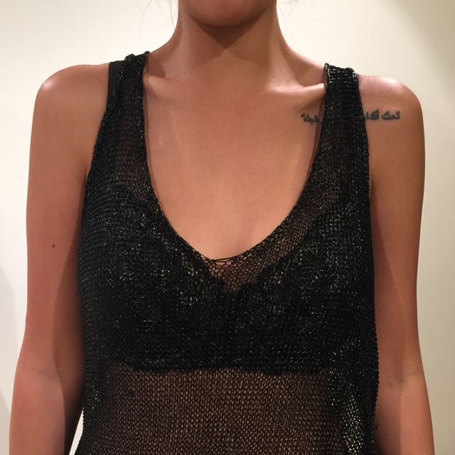 Dolly Mesh Tank Top In Black | Size XS