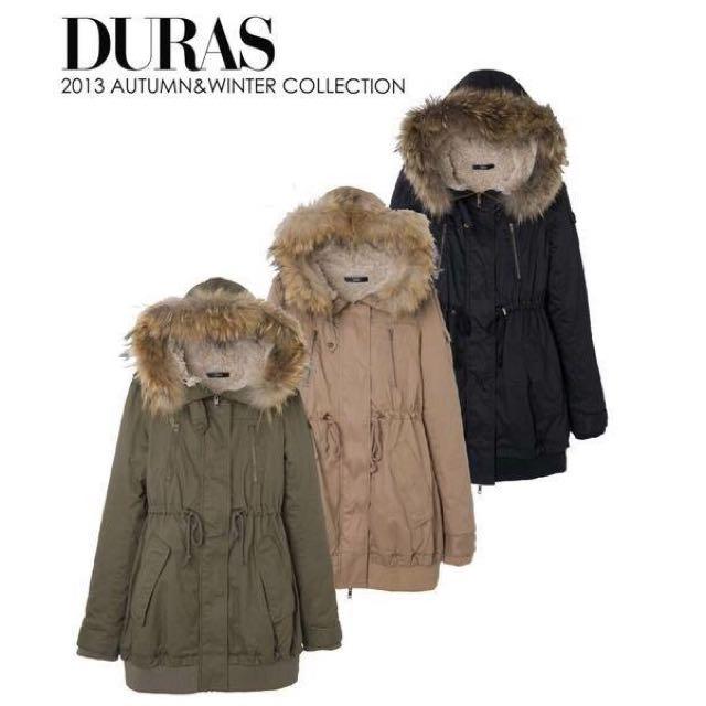 二手✨軍綠日貨品牌DURAS 內刷毛收腰軍外套