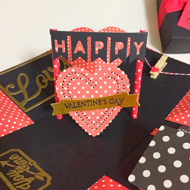 Happy Valentine Day Explosion Box Card In Black Gold And Red