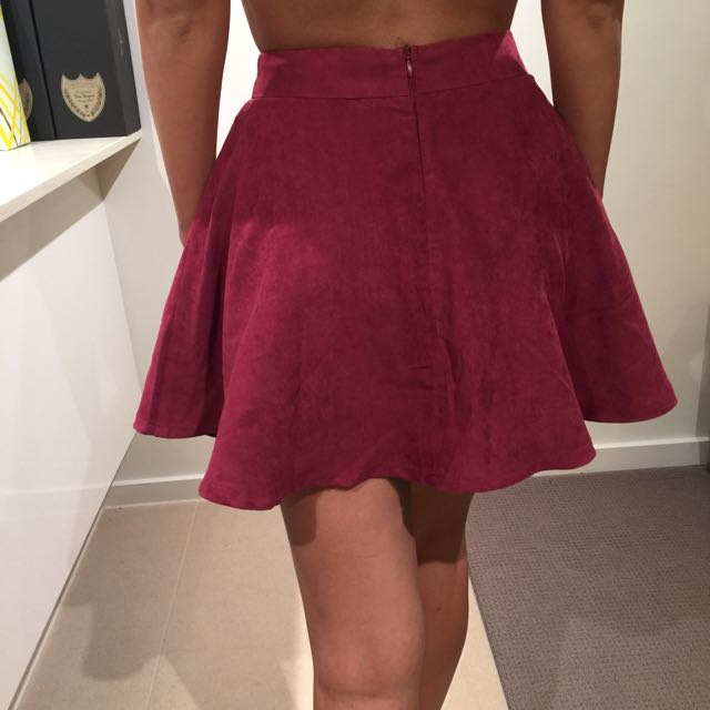 Maroon Suede Mini Skirt | Size 6
