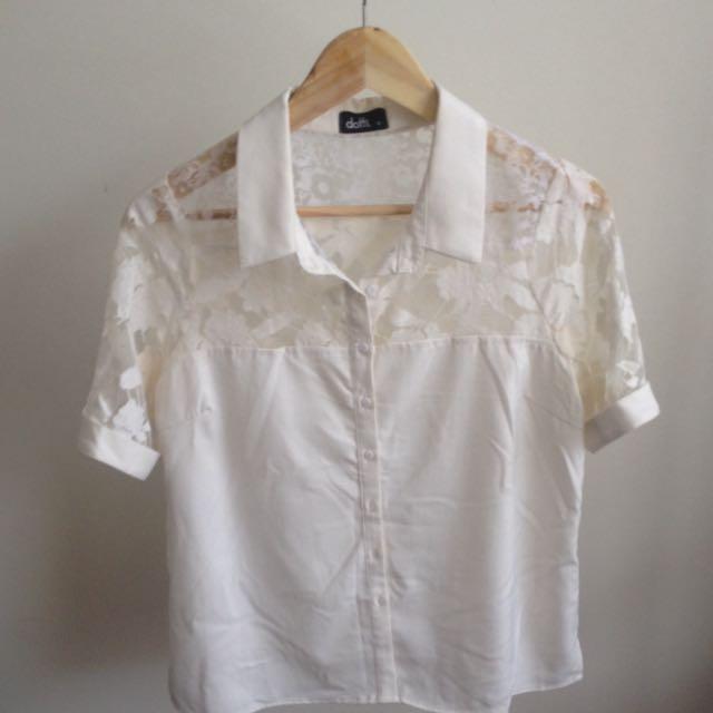 White Button Lace Shirt