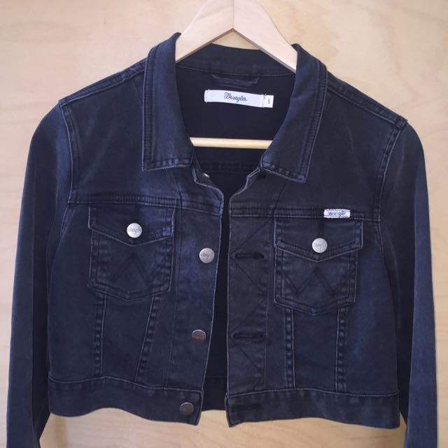 Wrangler Cropped Black Denim Jacket
