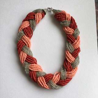 Beaded Necklace - Red, Pink & Silver