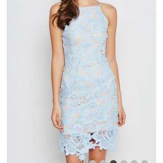 Love & Bravery stolen Kisses floral Lace Dress Pastel Blue (SIZE M) BRAND NEW