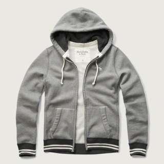{型鹿}[現貨] A&F Tipped Hoodie 灰色柔軟棉質素色連帽外套 Size:S*1
