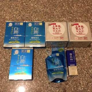 日本藥妝面膜,乳液,化妝水