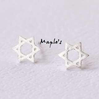 Maple's 925純銀 磨砂霧面拉絲紋路原宿六芒星耳環耳釘耳針 防過敏 抗敏感
