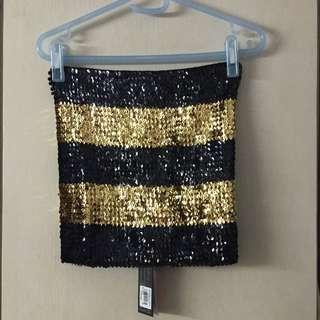黑金相間亮片短裙