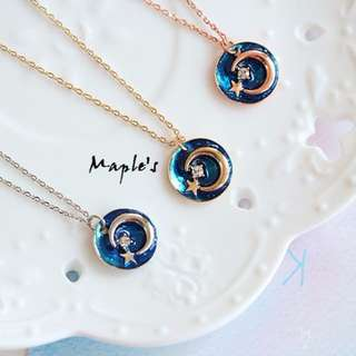 Maple's 日系釉彩滴釉星際水鑽月亮星星鎖骨練