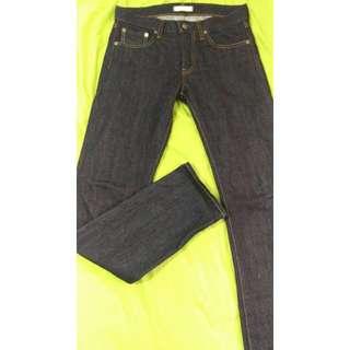 W30 全新 Uniqlo Pure Blue Jeans Slim fit 原色 窄版 赤耳布邊 牛仔褲 UJ