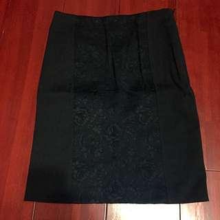 全新zara 黑色造型蕾絲窄裙