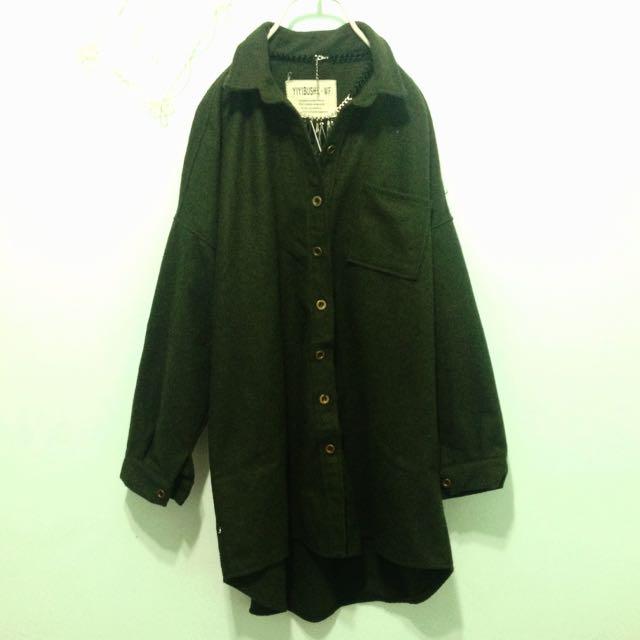 古著💄復古軍綠飛鼠袖厚版長襯衫罩衫