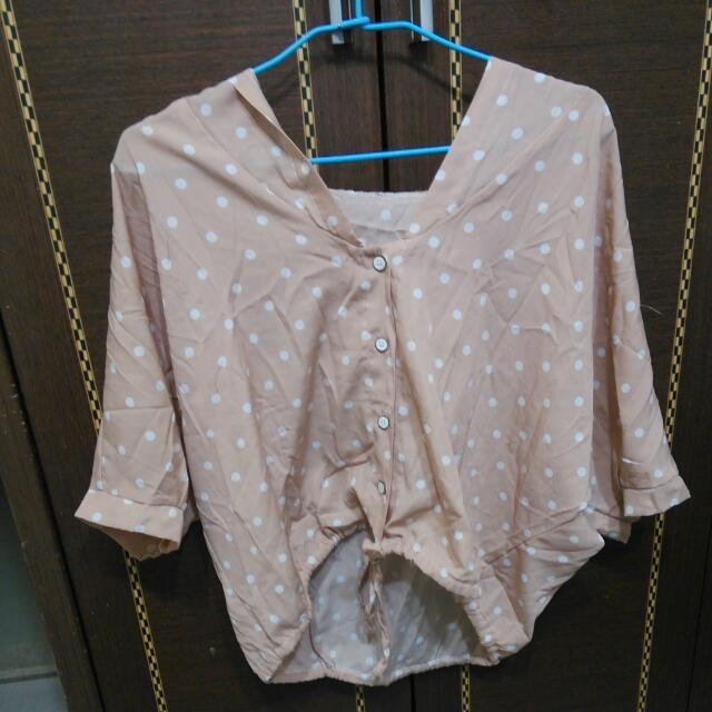 裸粉紅點點罩衫雪紡上衣#百元全新女裝