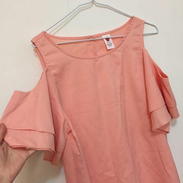 韓版橘粉色挖肩荷葉上衣