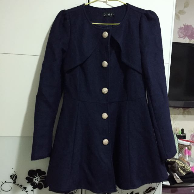 (二手)深藍公主袖縮腰外套