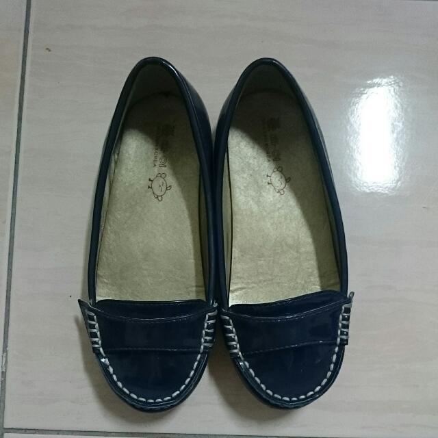 韓國童鞋  藍色漆皮娃娃鞋31號