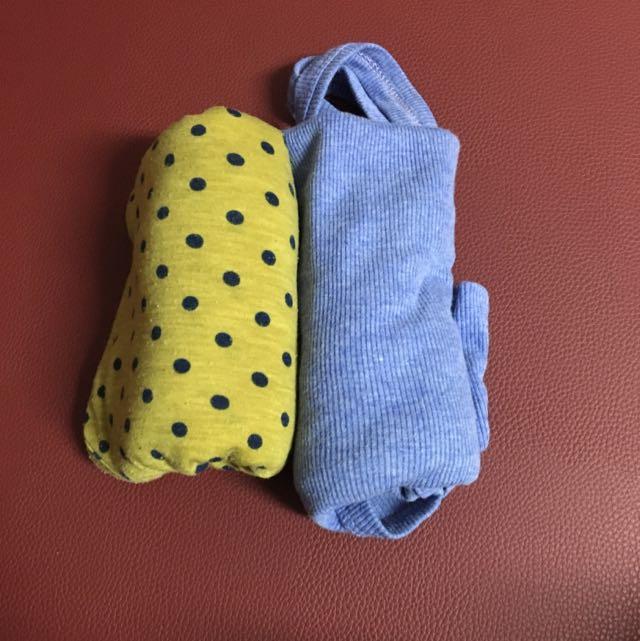 藍色細肩帶/點點黃無袖 長版內搭上衣