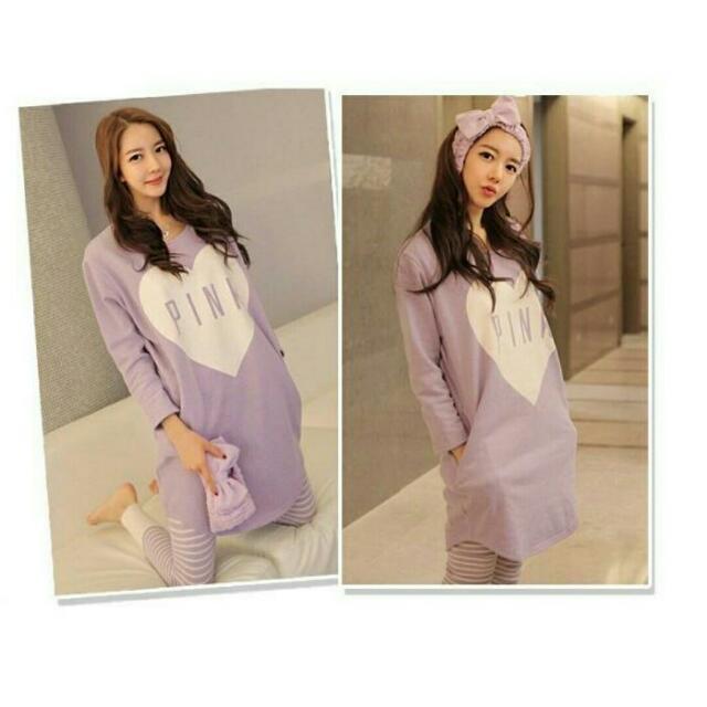 ♞嬰 樂♘ 韓版 PINK秋季長袖紫色送頭巾 哺乳衣 月子服 孕婦裝 產婦 哺乳睡衣 長褲 套裝 B002