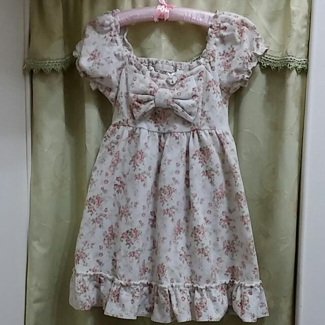 《售出待匯》日本 Liz Lisa 正品 磨毛公主袖碎花洋裝