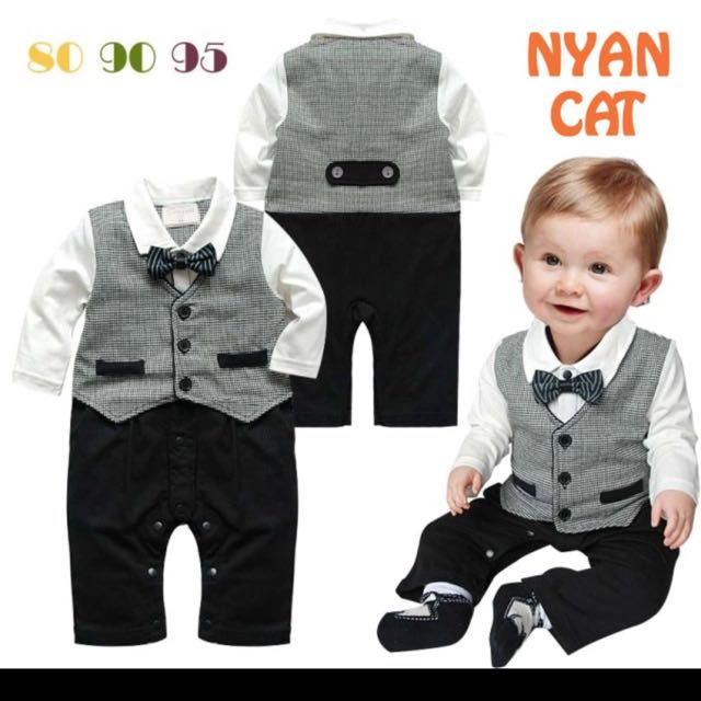 d54ef3901e1f3 Baby Boys Gentleman Bow Ties Birthday Party Rompers 2 Pcs Set Kids Toddlers  Clothes Cotton Plaid Turn-down Collar Black jumpsuit