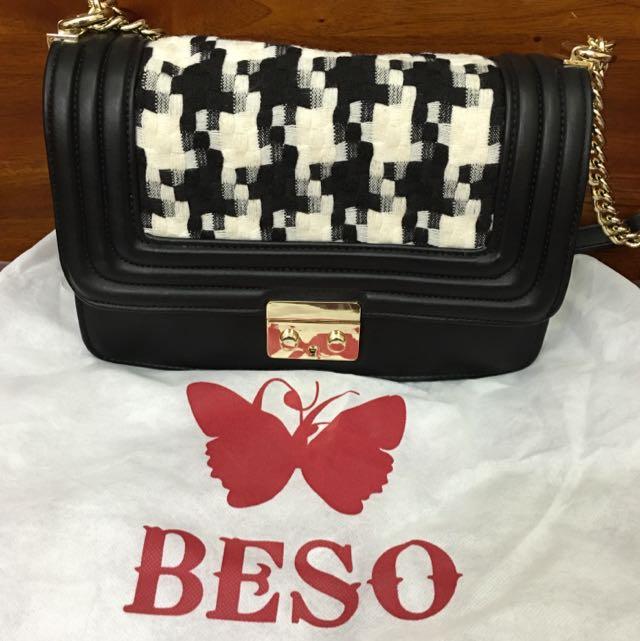 BESO 黑白針織鐵鍊包