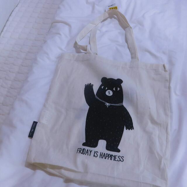韓國BUTTER 全新 黑熊帆布袋