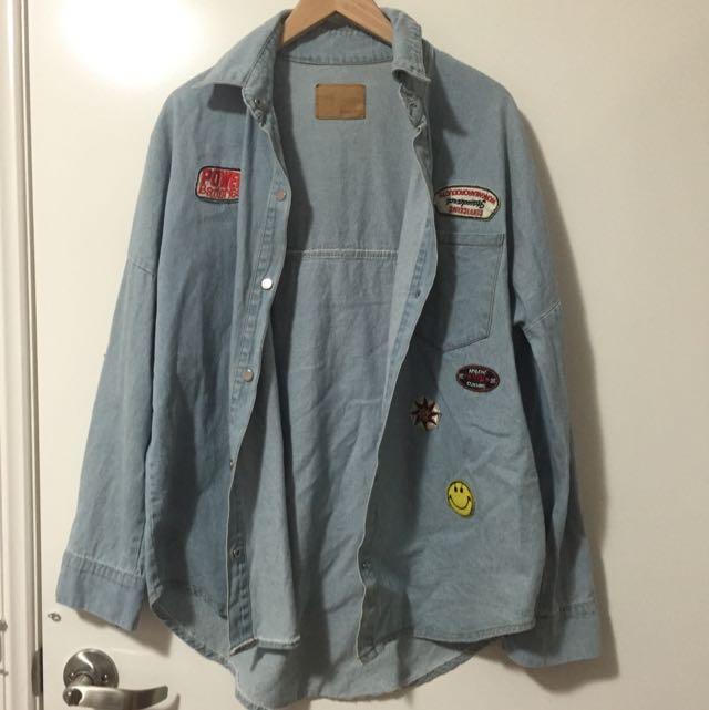 Denim Shirt With Badges