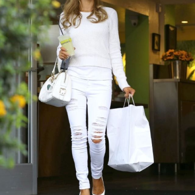 Frame Denim White Ripped Jeans - Image Of Jeans