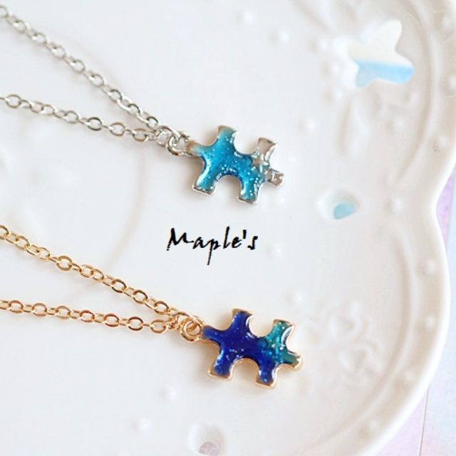 Maple's 日系水藍漸層釉彩滴釉記憶拼圖項鍊鎖骨鍊