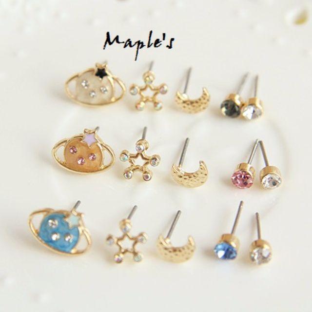 Maple's 日系粉嫩色系水鑽土星耳環五件組 耳釘耳針 三色可選