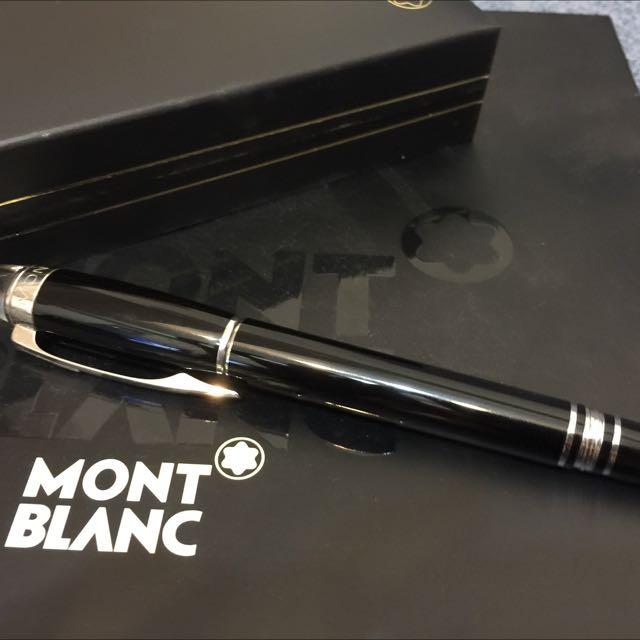 全新)MONTBLANC 萬寶龍領航系列白金夾鋼珠筆-黑