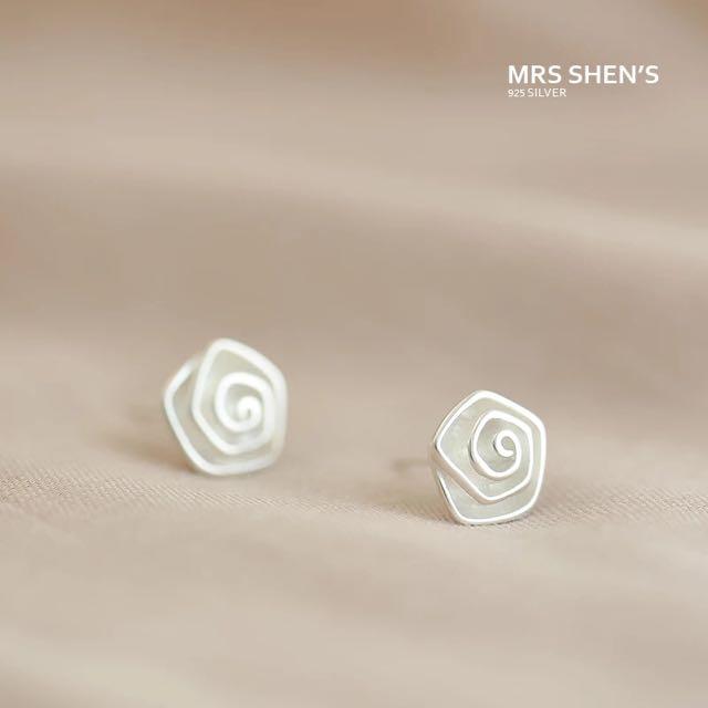 S163 925純銀 清新甜美氣質玫瑰素銀耳環