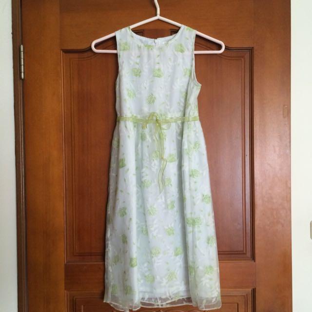 Santa Barbara Polo&Racquet 綠色花朵蕾絲洋裝