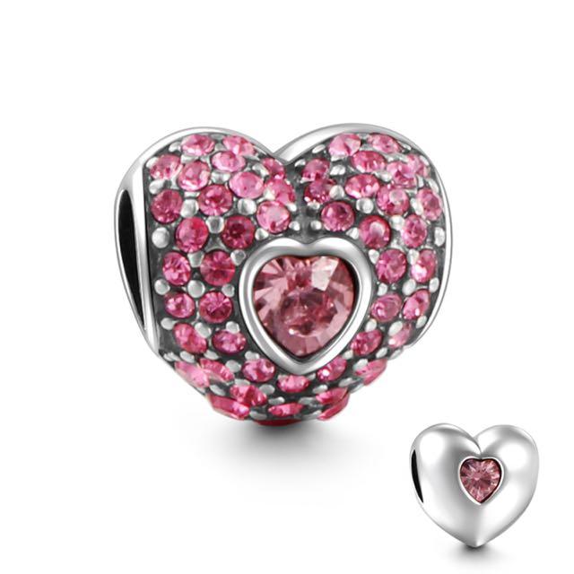 郵寄免運☆正品現貨☆SOUFEEL 索菲爾 925純銀串珠 粉色的心 情人節 愛心 Pandora適用