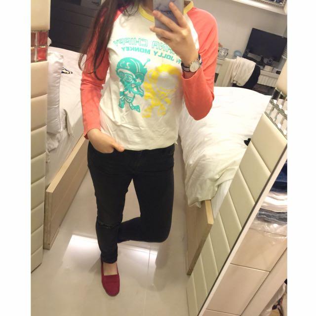 馬桶蓋長袖棒球T恤*2色
