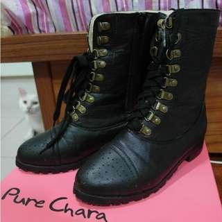 # List of Ande # Pure Chara 冬季內鋪毛 綁帶 短筒 低筒 低跟 粗跟 帥氣 軍靴 機車靴 / Size 37