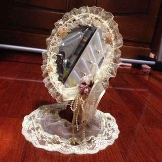 桌上 立鏡 蕾絲裝飾
