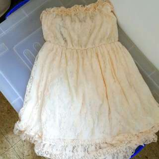 lace tube dress (baby pink)