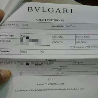 Bvlgari Credit Vch Worth $760 ***REDUCE PRICE TO $560****