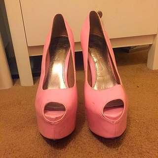 Marco gianni Baby Pink Peep Toe Pumps