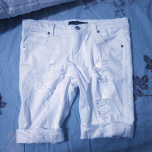 50%刷破白短褲