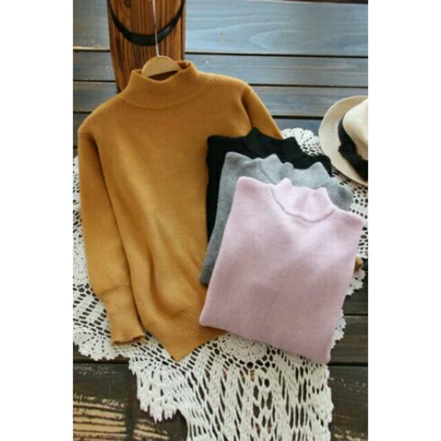 ❕任2件900❕韓版文藝顯瘦素色高領毛衣 4色
