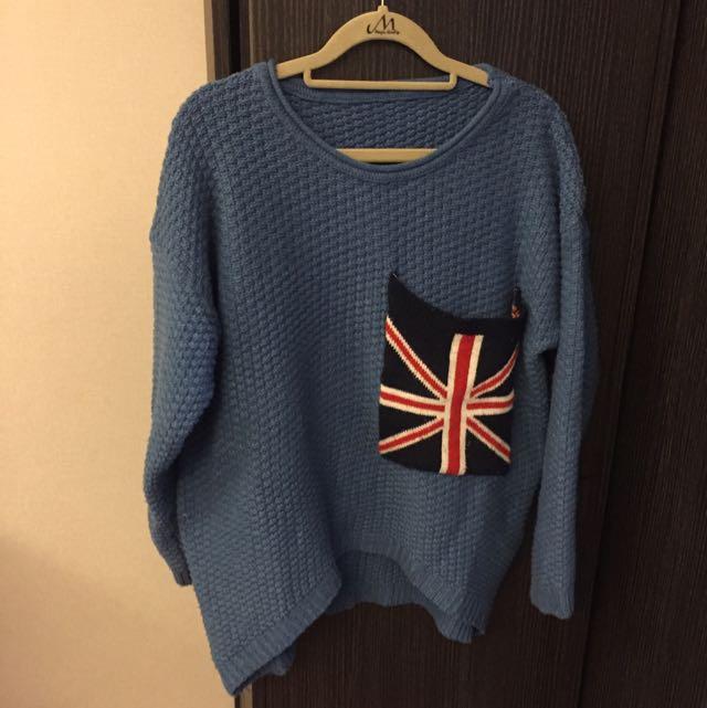 【二手】英國旗口袋粗織毛衣